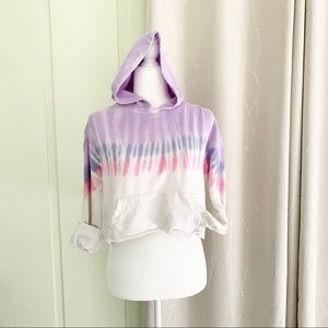 SO Stripe Dyed Cropped Long Sleeve Hoodie